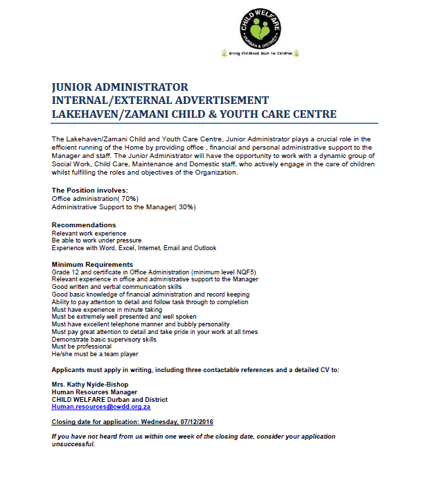Position Available : Junior Administrator