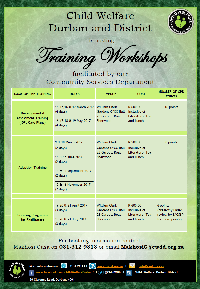 CWDD's Training Workshops