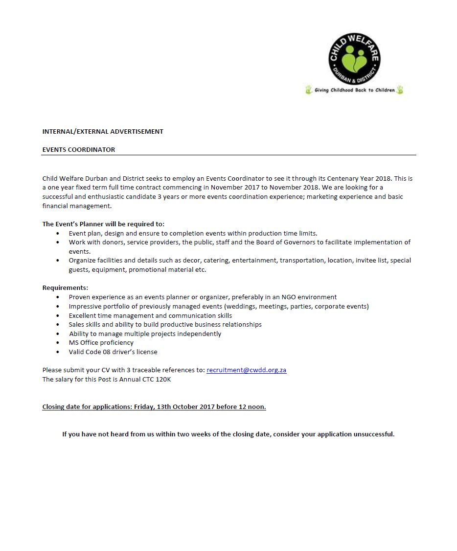 Position Available: Events Coordinator