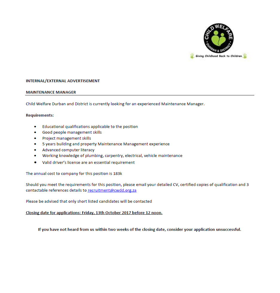 Position Available: Maintenance Manager