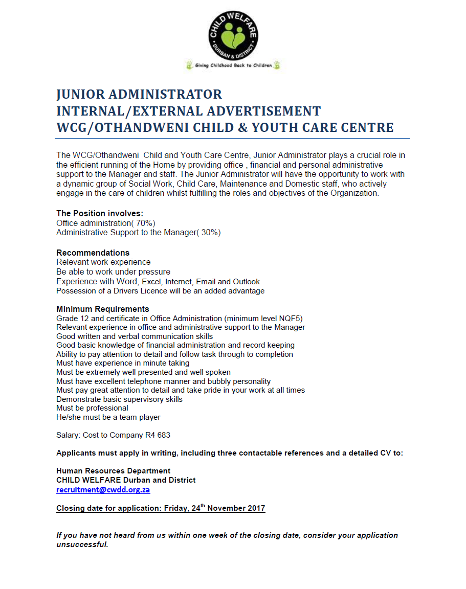 Position Available: Junior Administrator WCG CYCC