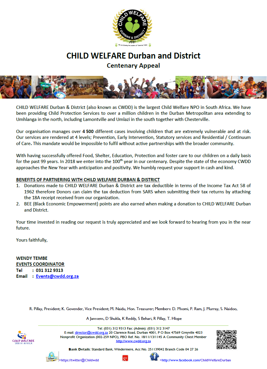 CWDD Centenary Appeal letter