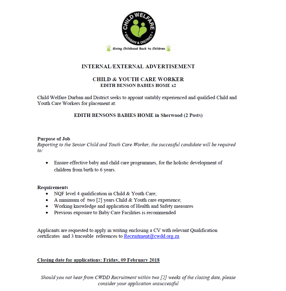 Position Available: Child and Youth Care Worker EBBH