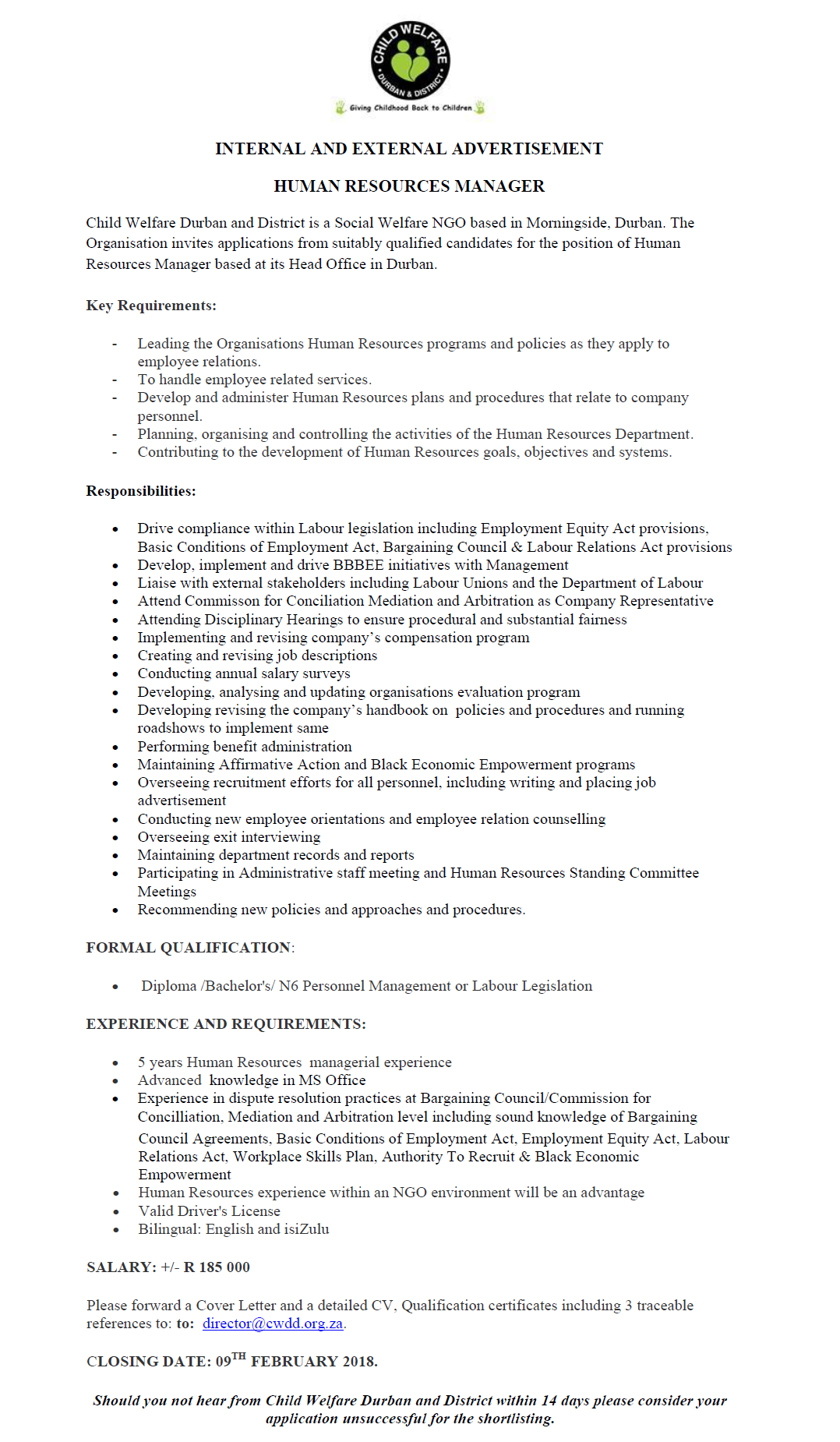 Position Available: Human Resources Manager