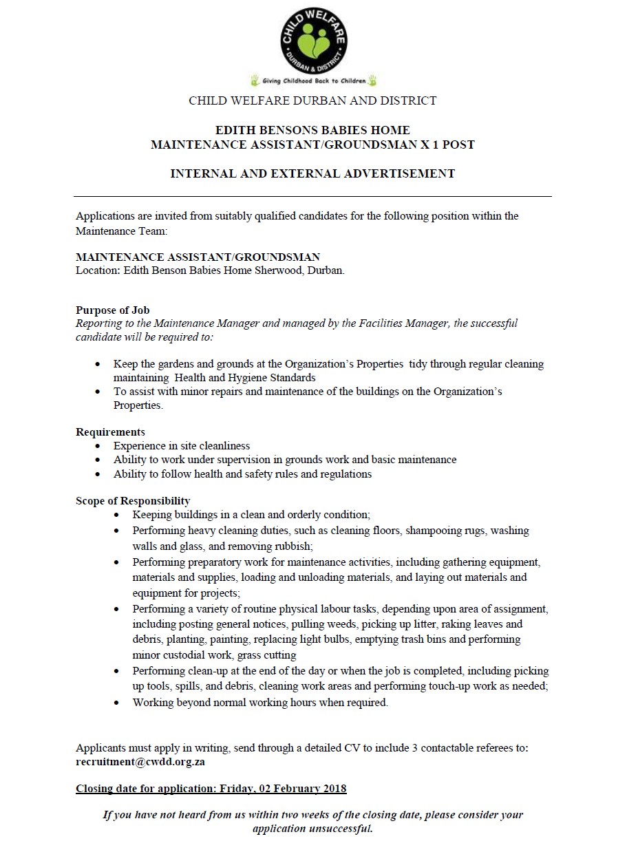 Position Available: Maintenance Assistant for EBBH