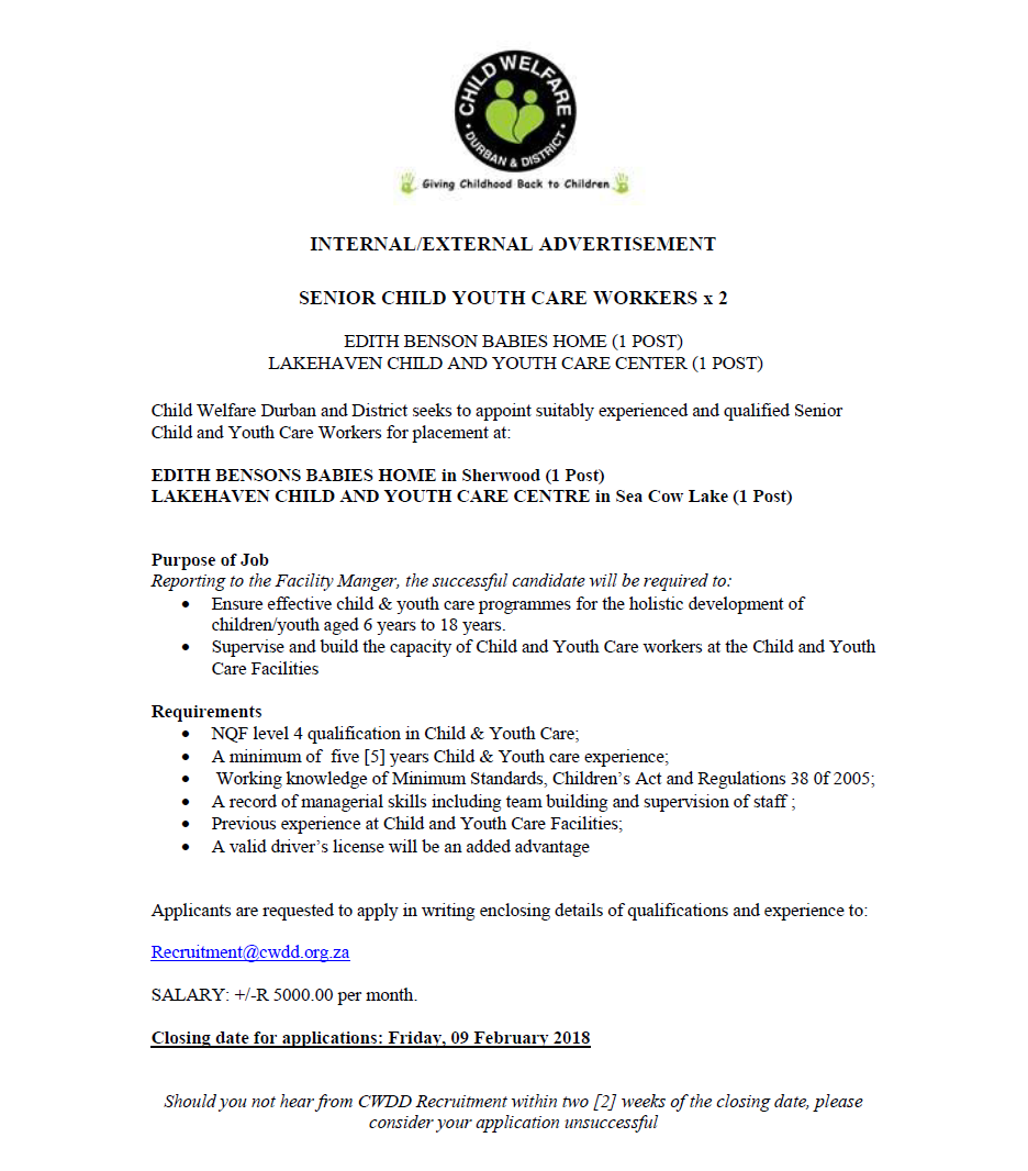 Positions Available: Senior Child and Youth Care Worker x2