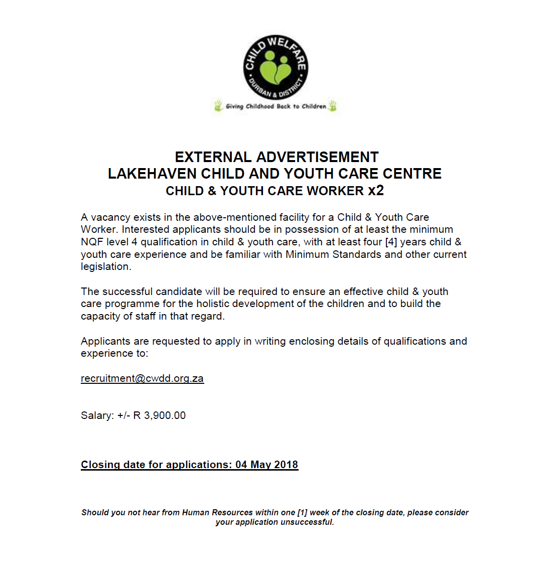 Position Available: Child and Youth Care Worker